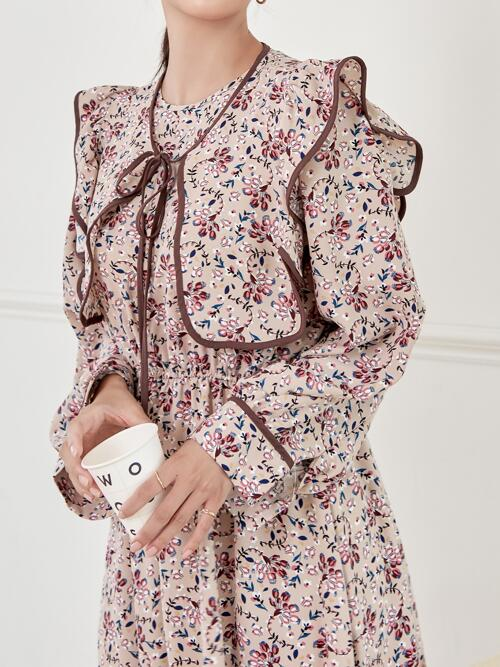Multicolor all over Print Tie Front Peter Pan Collar Allover Dress Cheap