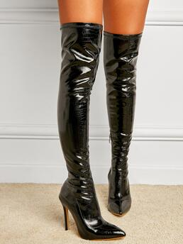 Sale Black Pu Leather Rubber Polyester Croc Embossed over Kneel Heeled Boots