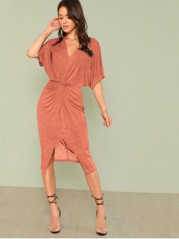 Elegant Fitted Plain Slit Regular Fit V neck Half Sleeve Batwing Sleeve High Waist Red Midi Length Twist Front Kimono Dress