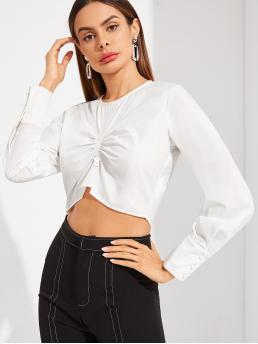 Casual Plain Top Regular Fit Round Neck Long Sleeve Regular Sleeve Pullovers White Crop Length Keyhole Back Gathered Front Crop Top