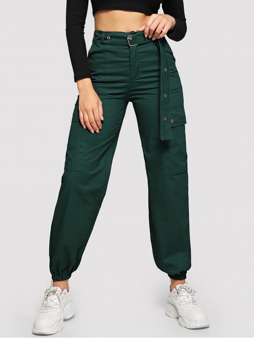 Casual Plain Cargo Pants Regular Button Fly Mid Waist Green Long Length Metal Grommet Belted Utility Pants with Belt