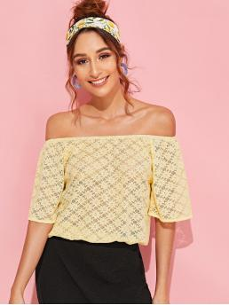 Boho Plain Top Regular Fit Off the Shoulder Half Sleeve Flounce Sleeve Pullovers Yellow Regular Length Off Shoulder Bell Sleeve Floral Lace Top