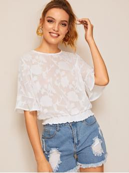 Casual Plain Top Regular Fit Round Neck Half Sleeve Flounce Sleeve Pullovers White Regular Length Floral Pattern Shirred Blouse
