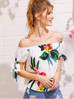 Boho Tropical Top Regular Fit Off the Shoulder Short Sleeve Pullovers Multicolor Regular Length Off Shoulder Tie Cuff Tropical Print Top