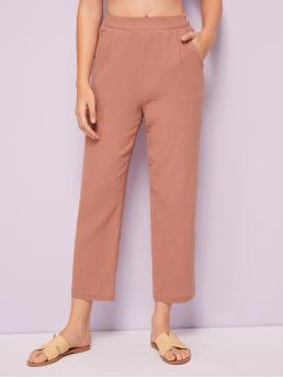 Casual Straight Leg Plain Regular High Waist Nude Cropped Length Solid Side Pocket Straight Leg Pants