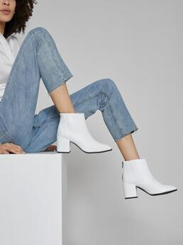 White Classic Boots High Heel Chunky Faux Leather Block Heels Ankle Booties Discount