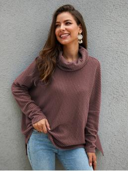Casual Plain Pullovers Oversized High Neck Long Sleeve Regular Sleeve Pullovers Nude Regular Length High Neck Waffle Knit Sweater
