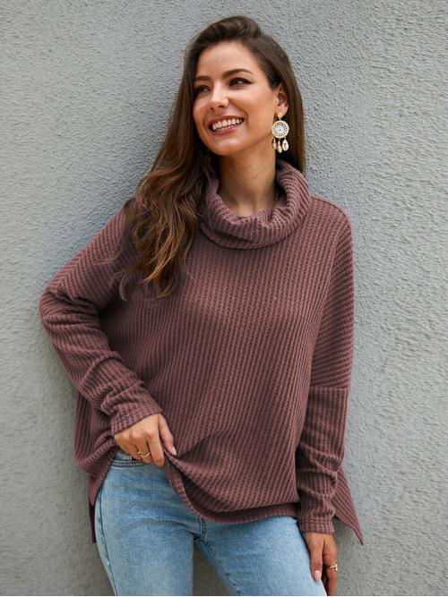 Casual Plain Oversized High Neck Long Sleeve Regular Sleeve Pullovers Nude Regular Length Solid High Neck Oversized Tee