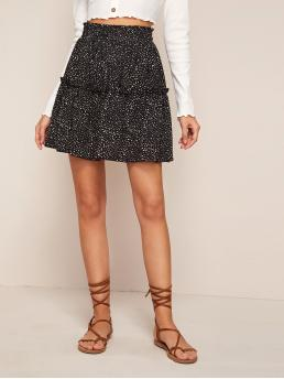 Casual A Line All Over Print High Waist Black Above Knee/Short Length All Over Print Frill Trim Tie Front Skirt