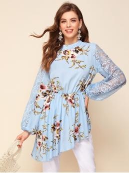 Elegant Peplum Floral Asymmetrical Regular Fit Stand Collar Long Sleeve Bishop Sleeve Pullovers Baby Blue Longline Length Mock Neck Lace Sleeve Asymmetrical Hem Floral Top