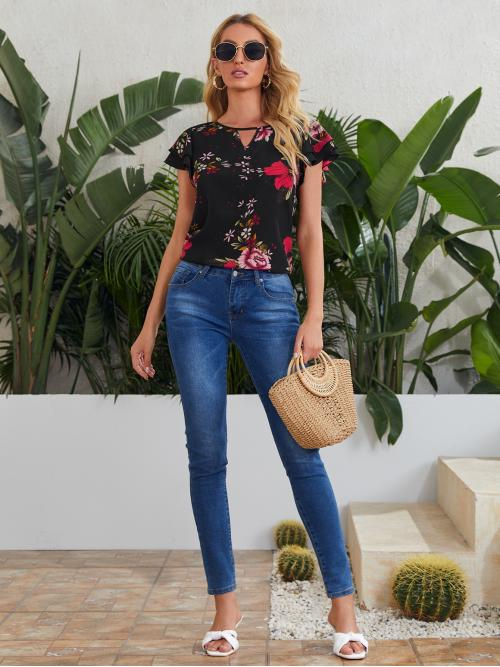 Trending now Cap Sleeve Top Tiered Layer Polyester Keyhole Neck Layered Flutter Sleeve Top