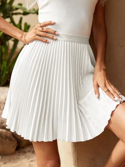 Women's White High Waist Pleated Pleated Solid Skirt