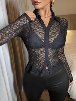 Long Sleeve Shirt Sheer Lace See through Blouse Sale
