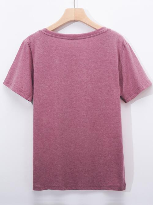 Short Sleeve Cotton Cartoon Dusty Pink Graphic and Banana Tee on Sale