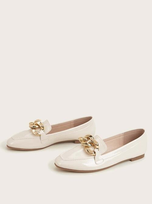 Clearance Beige Pu Leather Tpr Pu Leather Metal Decor Square Toe Loafers