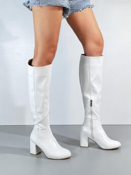 White Pu Leather Rubber Polyester Side Zip Chunky Heeled Knee Boots Sale