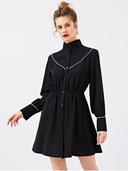 Pretty Black Plain Button High Neck Contrast Binding Shirt Dress