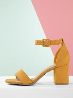 Business Casual Open Toe Ankle Strap Yellow Mid Heel Chunky Faux Suede Ankle Strap Low Block Heel Sandals