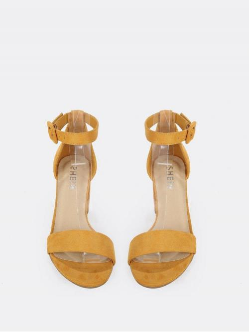 Discount Suede Yellow Strappy Sandals Drawstring Faux Ankle Low Block Heel Sandals