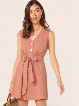 Casual Fitted Plain Straight Regular Fit V neck Sleeveless Natural Pink Short Length Single Breasted Belted Dress with Belt