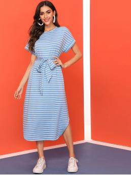 Casual Tee Striped Asymmetrical Loose Round Neck Short Sleeve Batwing Sleeve Natural Blue Long Length Curved Hem Striped belted Tee Dress with Belt