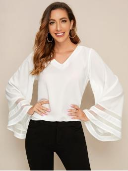 Casual Plain Top Regular Fit V neck Long Sleeve Flounce Sleeve Pullovers White Regular Length Contrast Mesh Bell Sleeve Solid Blouse