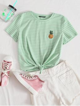 Casual Striped and Fruit&Vegetable Regular Fit Round Neck Short Sleeve Regular Sleeve Pullovers Mint Green Regular Length Pineapple Embroidered Striped Tee