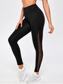 Black Sheer Regular Plain Mesh Insert High-rise Leggings Discount