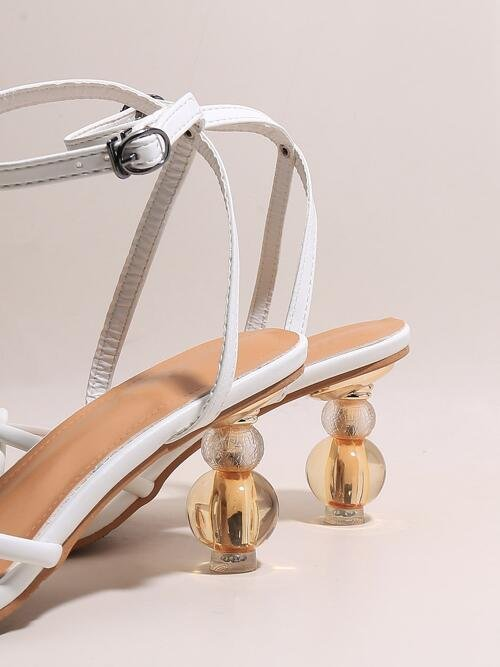 Beautiful White Strappy Sandals Mid Heel Sculptural Heels Sculptural Heeled Sandals
