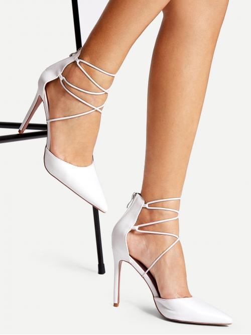 Discount Corduroy White Court Pumps Zipper Criss Cross Heels
