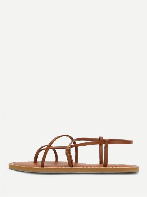 Strap Sandals Toe Post Strappy Brown Strappy PU Flat Sandals