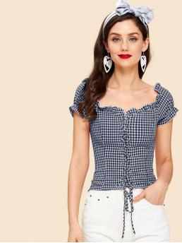 Casual Gingham Top Regular Fit Square Neck Short Sleeve Navy Crop Length Lace Up Front Frilled Gingham Blouse