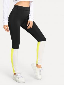 Sporty Regular Colorblock Multicolor Cropped Length Two Tone Cut And Sew Leggings