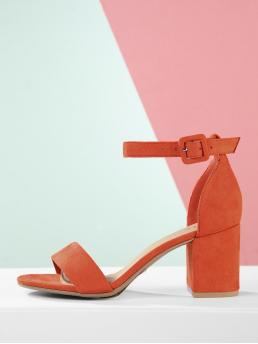 Ankle Strap Plain Ankle Strap Orange Mid Heel Chunky Open Toe Ankle Strap Chunky Heel Sandals