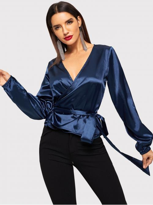 Glamorous Plain Top Regular Fit V neck Long Sleeve Pullovers Navy Regular Length Satin Wrap Top With Belt