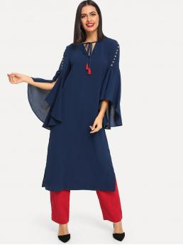 Modest Tunic Slit Loose V neck Three Quarter Length Sleeve Flounce Sleeve and Split Sleeve Natural Navy Long Length Tassel Tie Neck Button Detail Split Dress