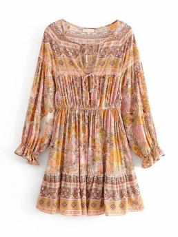 Boho A Line Floral and Tribal Flounce Round Neck Long Sleeve High Waist Multicolor Short Length Floral Print Tie Front Dress