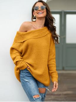 Casual Plain Regular Fit Off the Shoulder Long Sleeve Regular Sleeve Pullovers Yellow Regular Length Off The Shoulder Foldover Waffle Knit Sweater