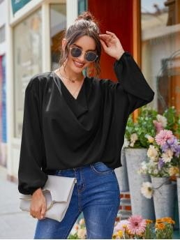 Women's Long Sleeve Top Draped Polyester Front Blouse
