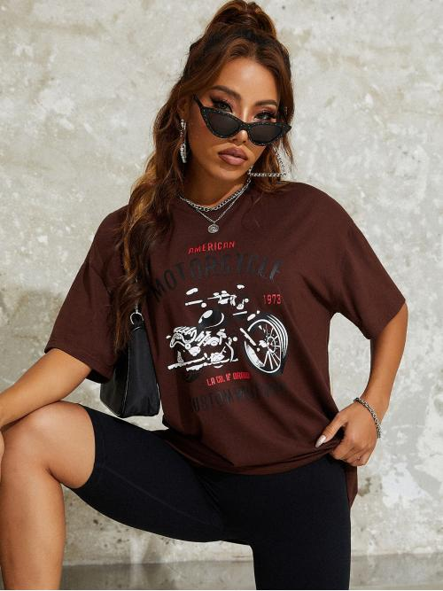 Shopping Half Sleeve Polyester Graphic Coffee Brown and Motorcycle Print Tee