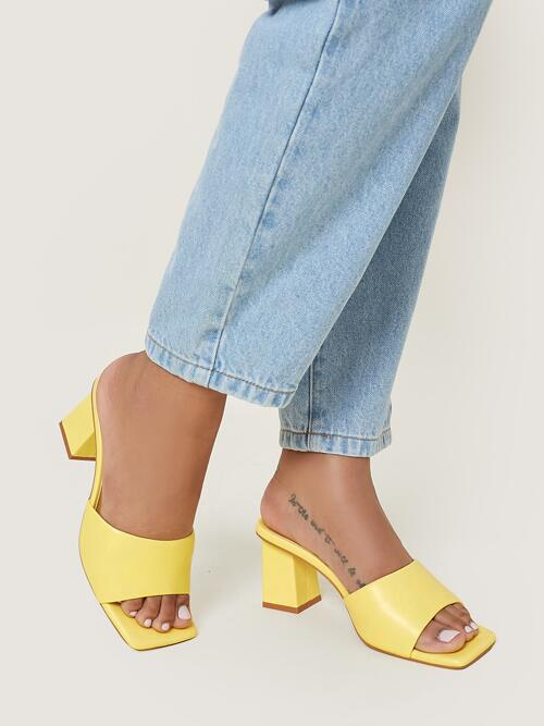 Yellow Mules Mid Heel Chunky Faux Leather Slip-on Block Heels Pretty