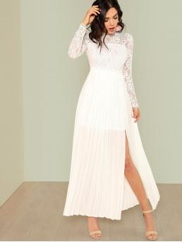 White Plain Sheer Stand Collar Lace Top Split Side Prom Dress on Sale