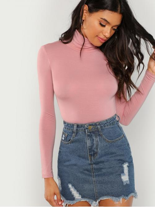 Long Sleeve Top Ruffle Polyester Turtleneck T-shirt Affordable