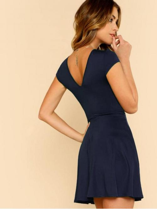 Navy Blue Plain Cut out Round Neck Low Back Skater Dress Beautiful