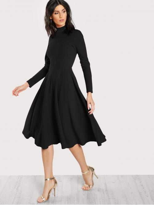 Elegant A Line Plain Flared Regular Fit High Neck Long Sleeve High Waist Black Long Length Mock Neck Button Keyhole Back Flare Dress