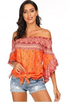 Boho Paisley Top Regular Fit Off the Shoulder Three Quarter Length Sleeve Flounce Sleeve Pullovers Orange Regular Length Paisley Off The Shoulder Knot Hem Blouse