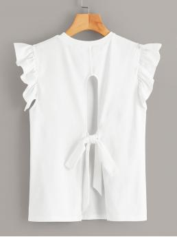 Casual Tank Plain Regular Fit Round Neck White Regular Length Tie Back Ruffle Armhole Tee
