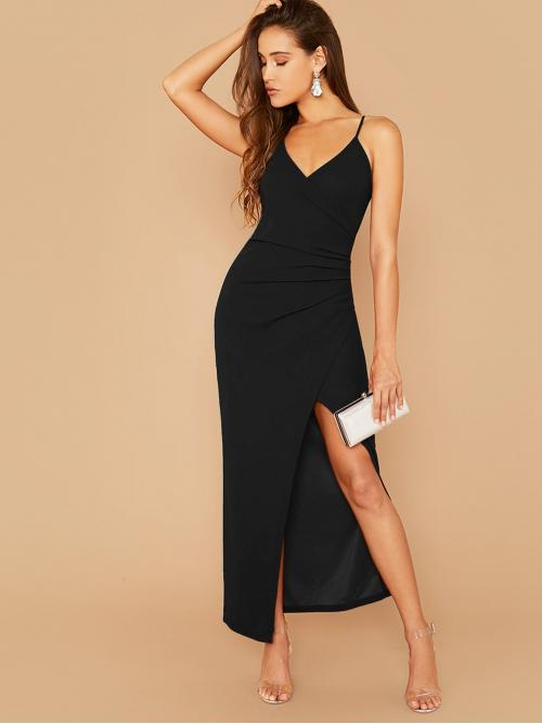 Glamorous and Sexy Cami Plain Slit Regular Fit Spaghetti Strap Sleeveless Natural Black Maxi Length Ruched Side Split Thigh Cami Dress
