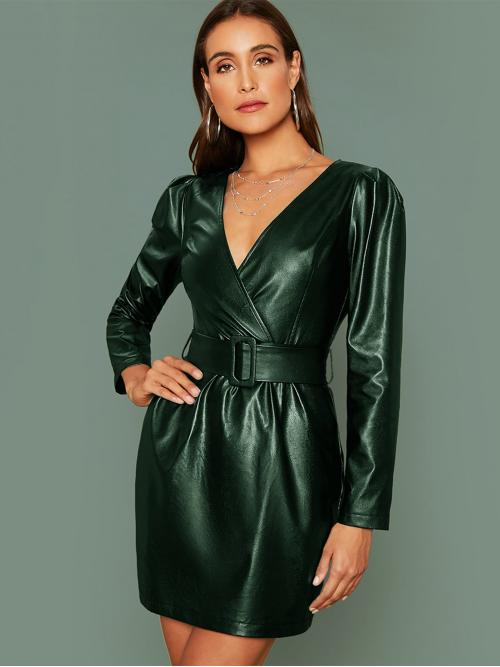 Glamorous Fitted Plain Regular Fit V neck Long Sleeve Puff Sleeve High Waist Green Short Length Surplice Neck Buckle Belted PU Leather Dress with Belt