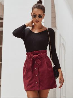 Casual A Line Plain High Waist Burgundy Mini Length Belted Button Front Corduroy Skirt with Belt